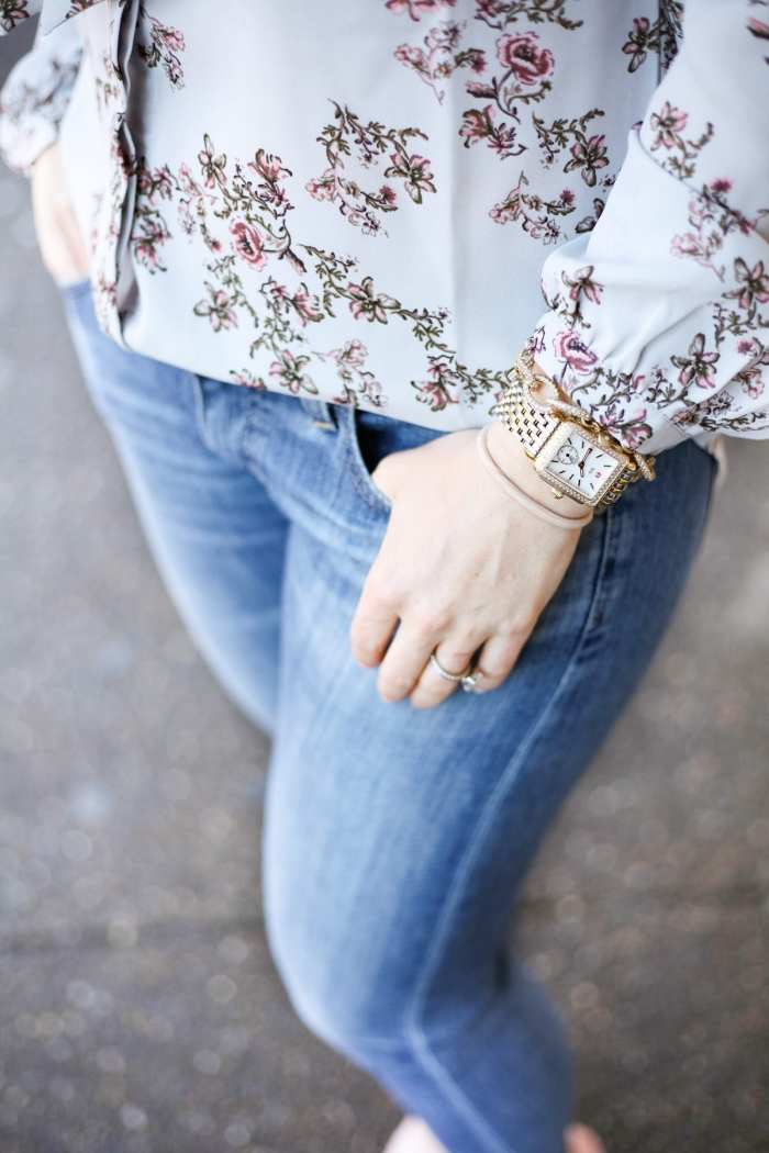 Spring Transition - Floral Prints- Floral Blouse - AG Denim - Ashley Pletcher- Michele Watch