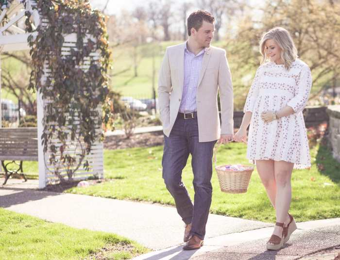Gender Reveal- Baby Girl - Easter Outfit- Easter Gender Reveal - Marc Fisher Espadrilles- Couples Fashion- Men's Fashion - Chicwish Dress