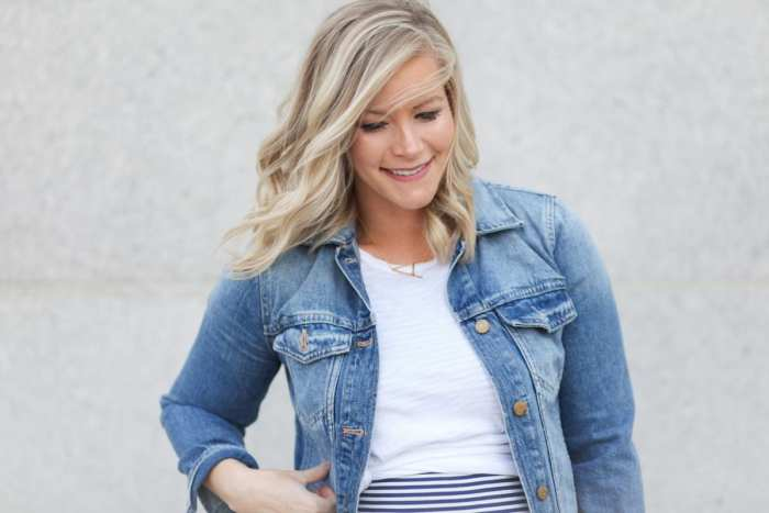 Madewell Denim Jacket- Anthropologie Necklace - Maternity Fashion - Memorial Day Sales- Fourth of July Outfit