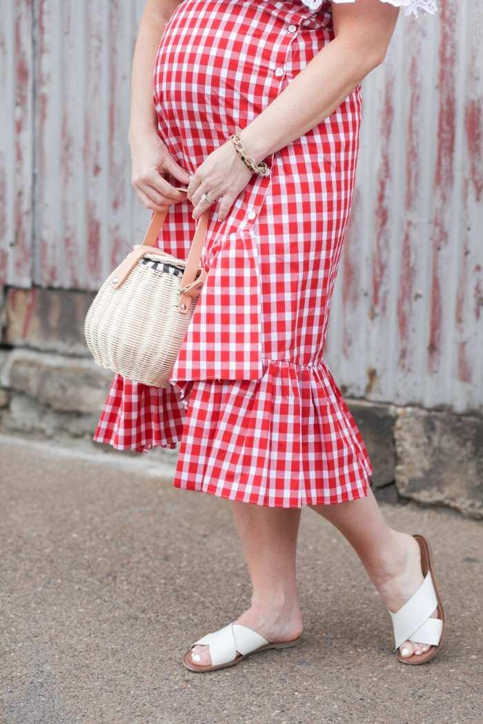 Summer Gingham Skirt Basket Bag