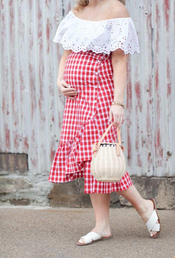 Summer Gingham Skirt Off the Shoulder Blouse