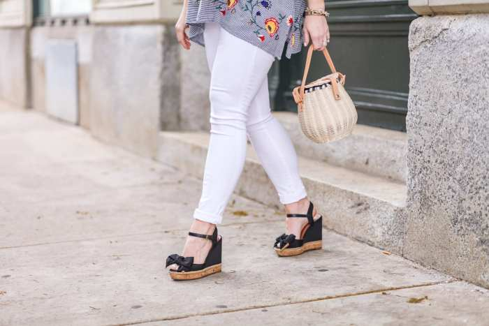 Summer trends - gingham- basket bags- maternity- fashion- Zara blouse- afternoon espresso- blogger- Tory Burch Wedges