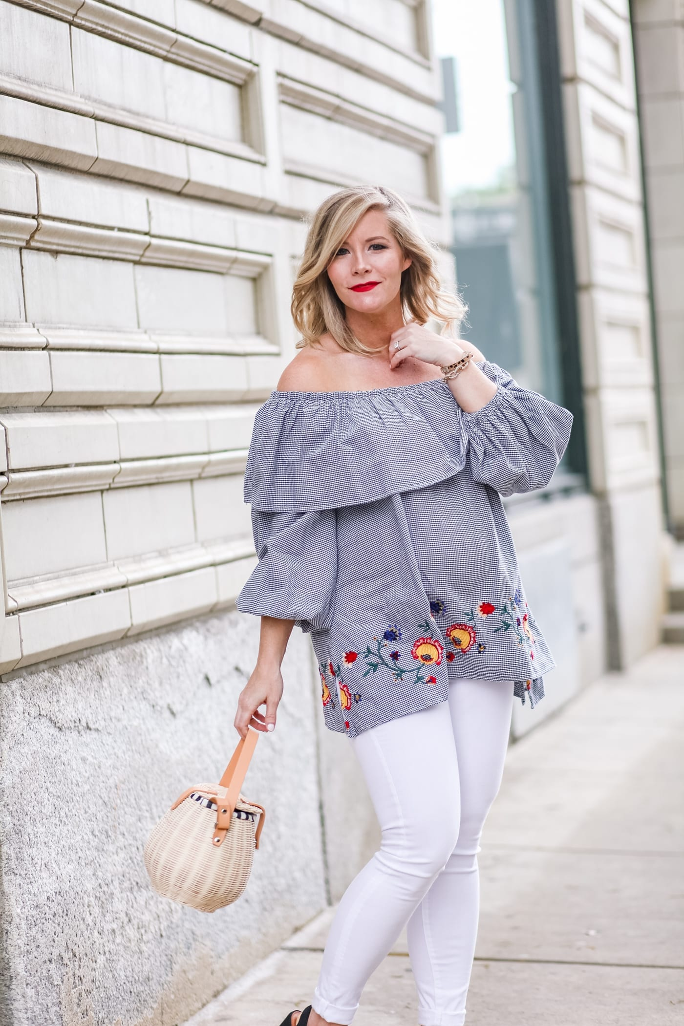 Summer Trends: Gingham Off the Shoulder Tops and Basket Bags