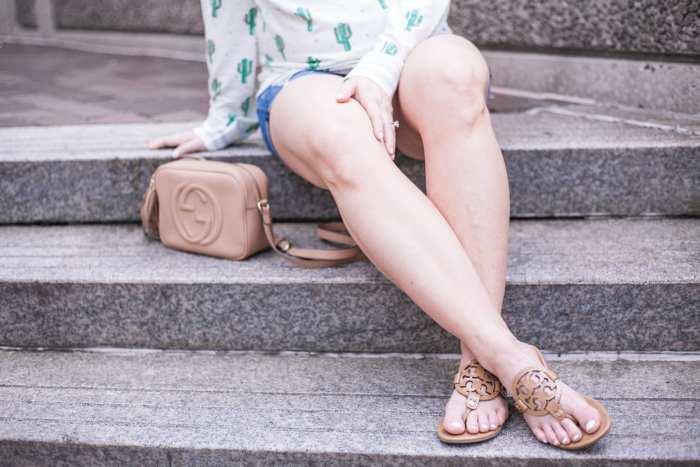 Nordstrom Cactus Print Sweatshirt - Summer Fashion - Tory Burch Miller Sandals