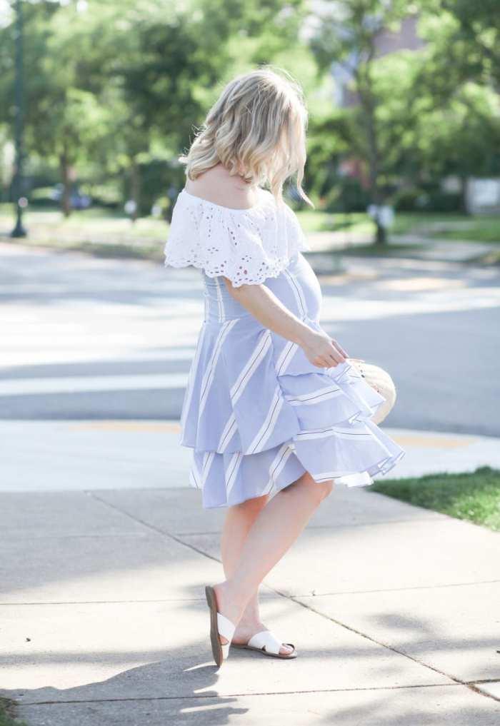Ashley Pletcher - fashion blogger - maternity - wicker bag - zara striped skirt - ruffle trends