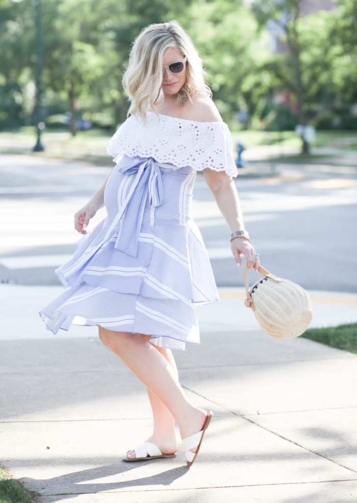 Ashley Pletcher - fashion blogger - maternity - wicker bag - striped dress - eyelet blouse - ruffle trends