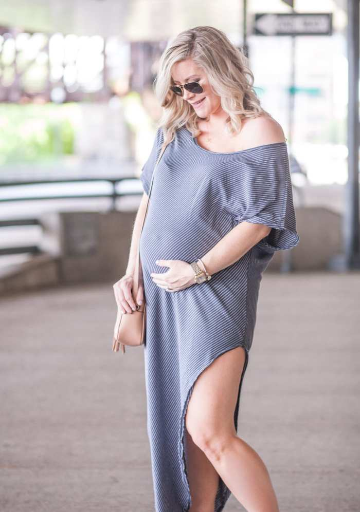 Free People Summer Maxi Dress- Maternity Fashion- Ray Ban Sunglasses - Nordstrom