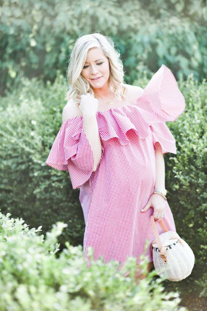 Chichwish- Red Gingham off the shoulder Dress- Blogger- Ashley Pletcher- Maternity Wear