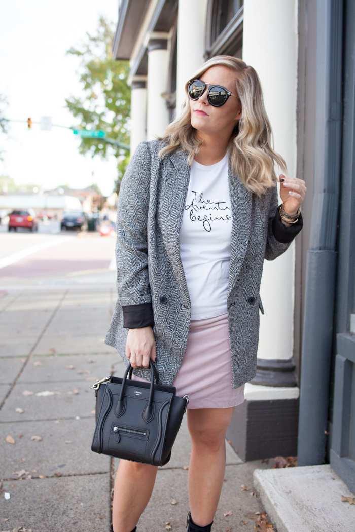 Blogger- Afternoon Espresso- Boyfriend Blazer- Target Style- Express Skirt