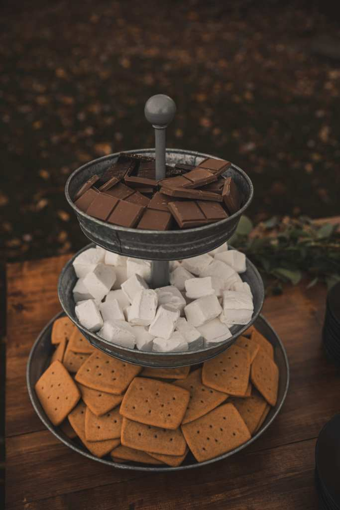 S'mores Table- Homemade S'mores Backyard wedding- covid wedding ideas- grazing table- Mediterra Bakehouse- Mediterra Cafe- Pittsburgh- Burgh Brides