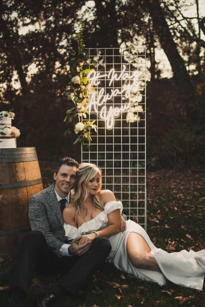 10th Anniversary party celebration- Burgh Brides-Pittsburgh Wedding- Neon Sign- It was always You - Backyard Wedding-Covid Wedding- Afternoon Espresso- Ashley Pletcher-