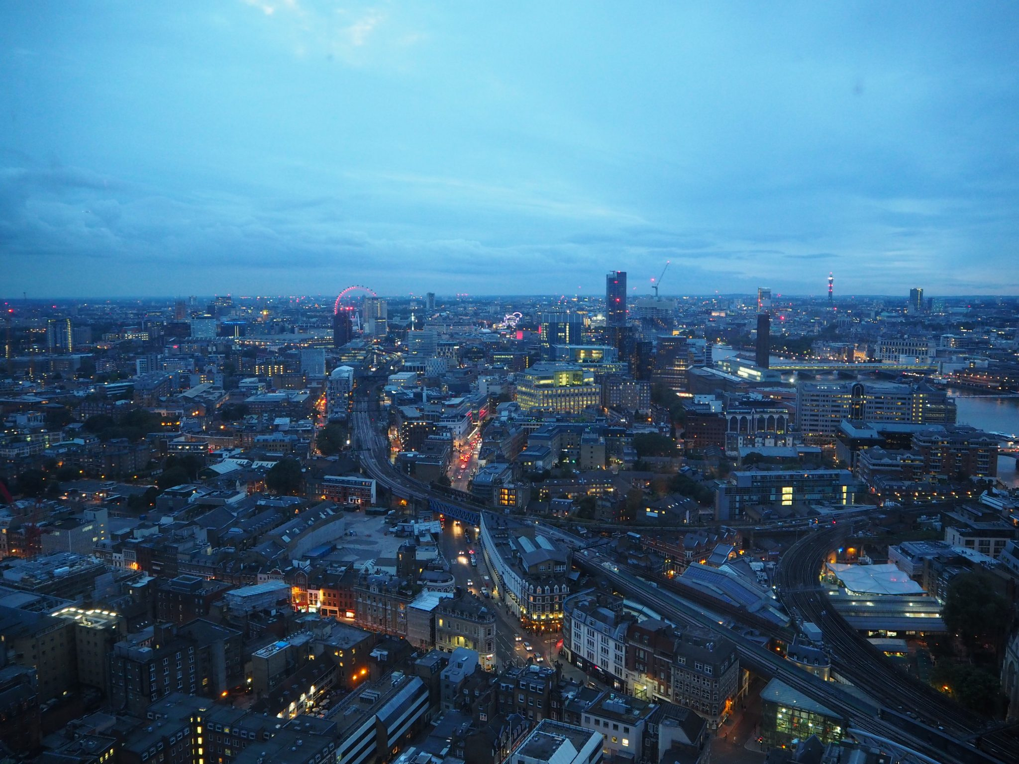 View of the London Eye from the Aqua Shard at sunset