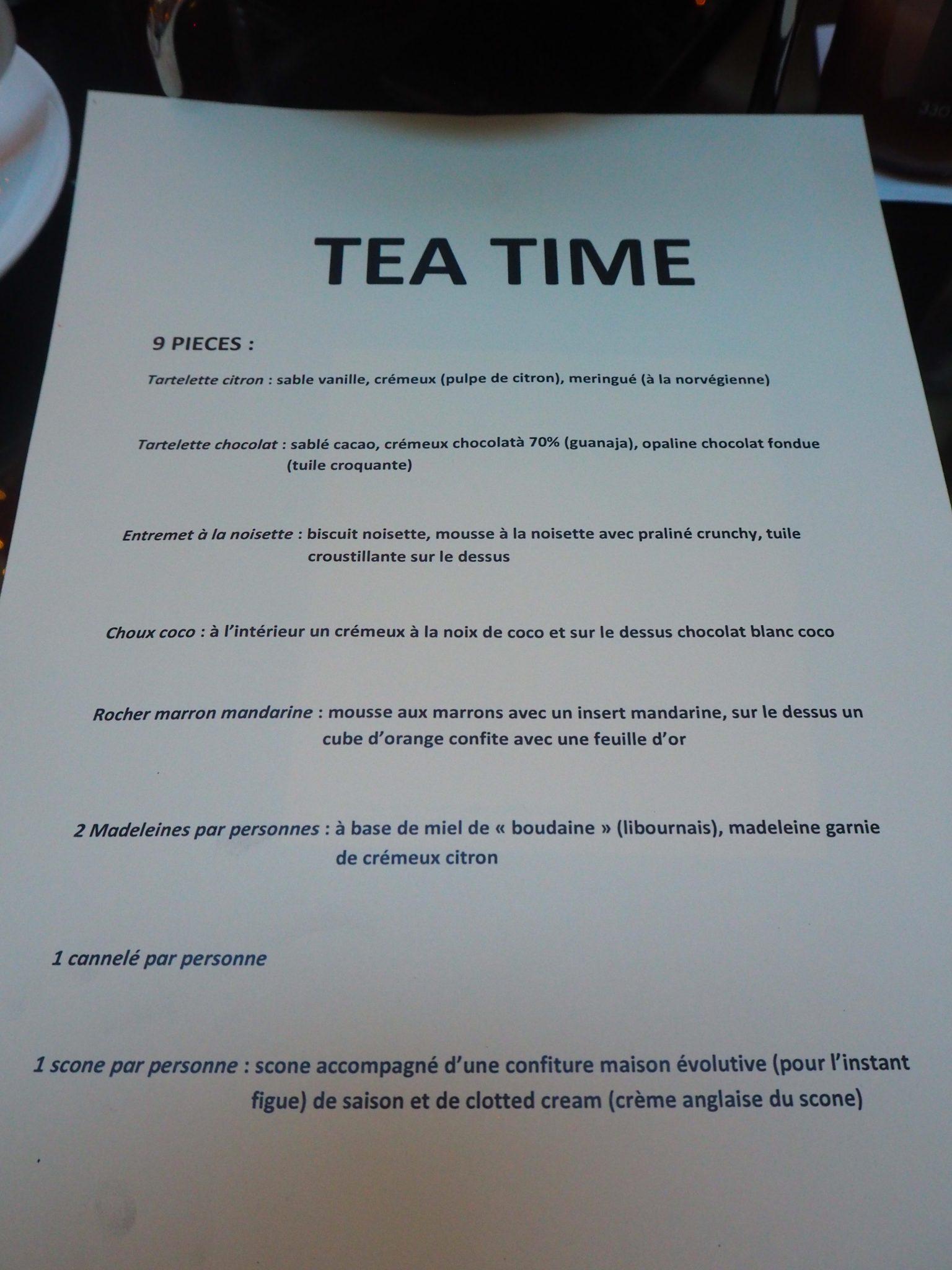 Menu du Tea Time / Afternoon Tea Menu (French)