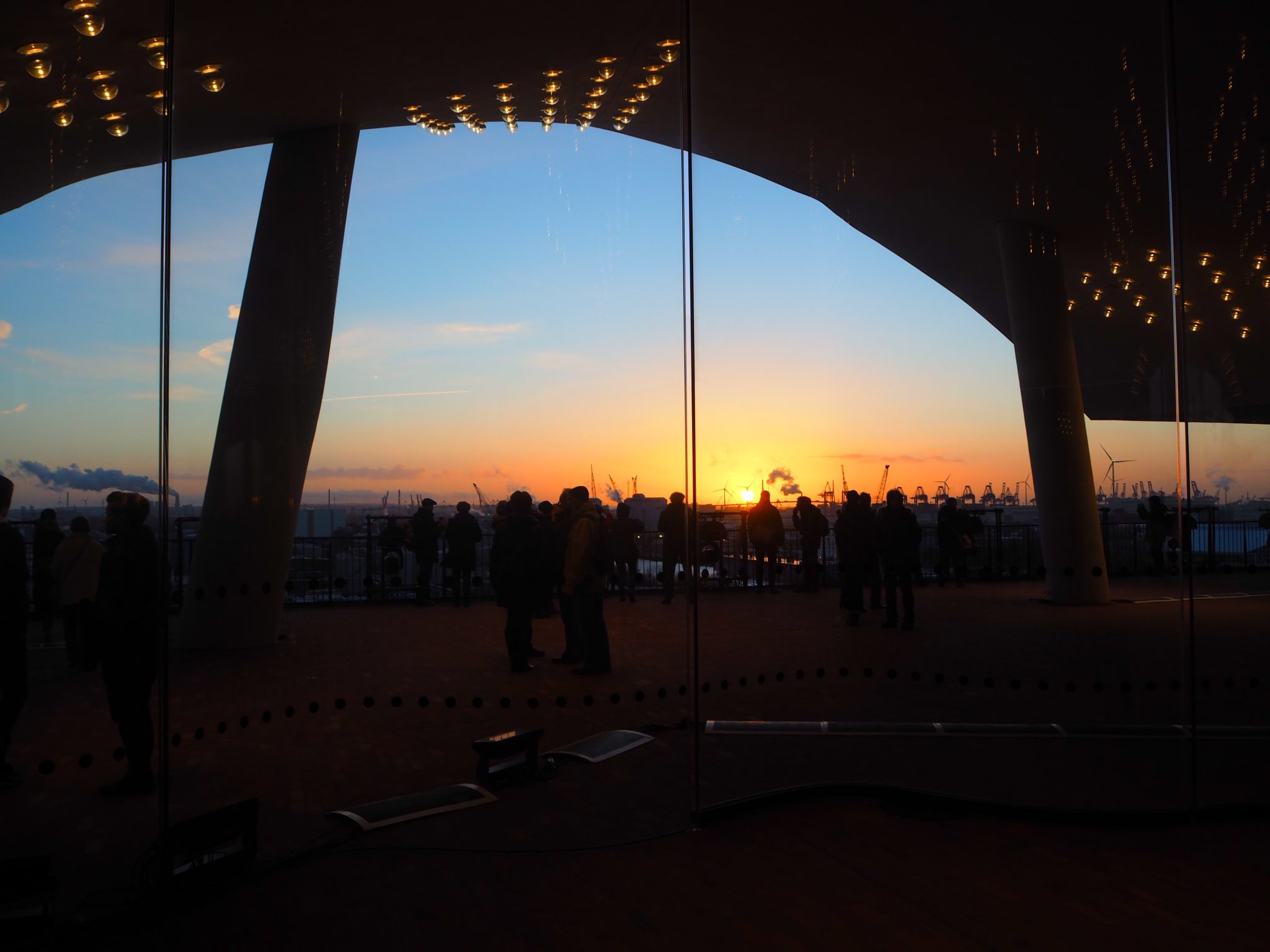 View of Harburg at sunset from The Elbphilharmonie