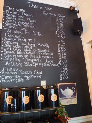 Tea menu / Carte des Thés - Afternoon Tea at Le Parloir tea room / Afternoon Tea au Salon de Thé Le Parloir