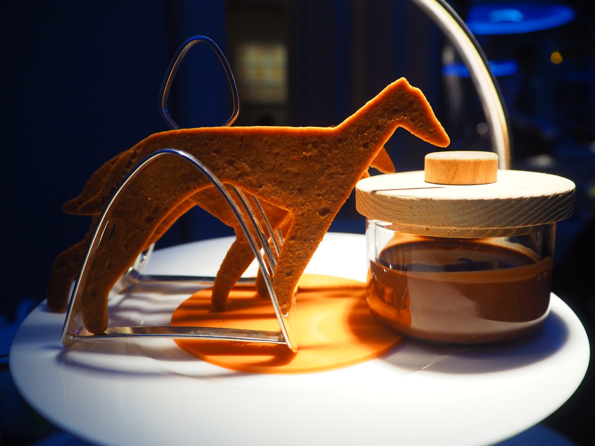 The chocolate fondue served with animal-shaped shortbreads