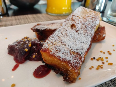 French Toast with stewed plums