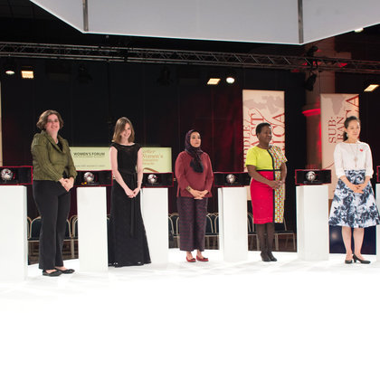 all 2015 laureates on stage