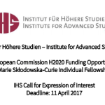 Call for Expression of Interest: Marie Skłodowska‐Curie Individual Fellowship Scheme 2017 – Austria