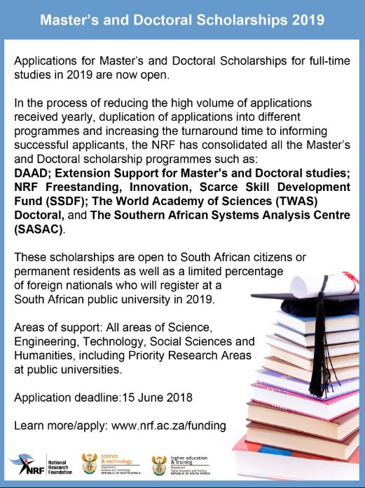DST/NRF Masters and Doctoral Scholarships for African