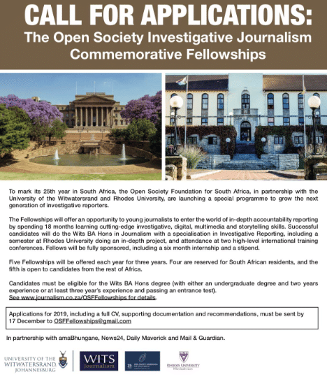 2018 Grants List Open Society Foundation For South Africa: Open Society Fellowships In Investigative Reporting 2020