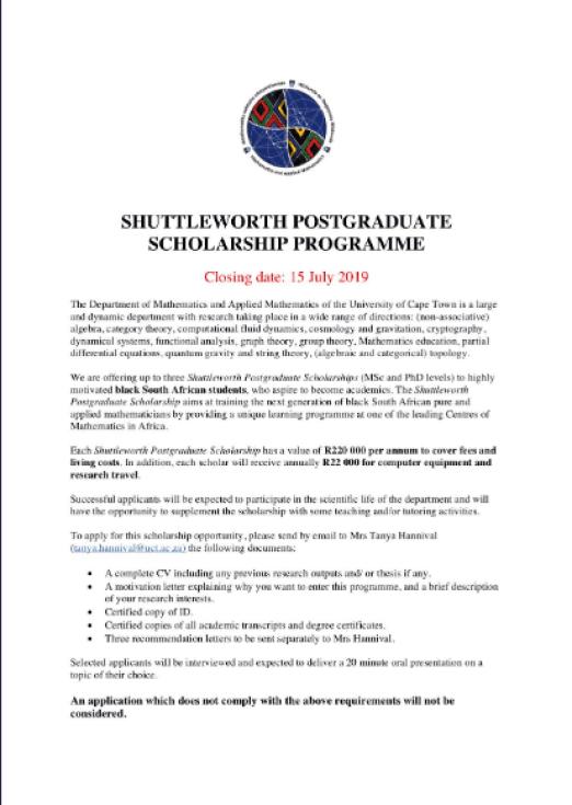 Shuttleworth Postgraduate Maths Scholarships 2019/2020 - University