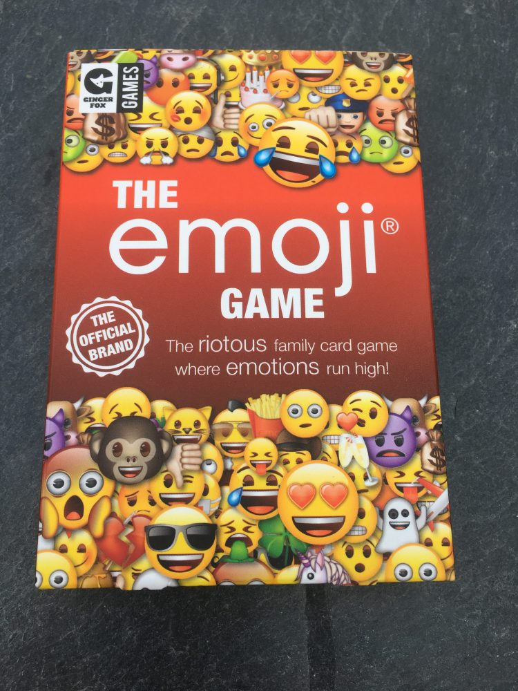 Best board games for tweens front cover of Emoji game box
