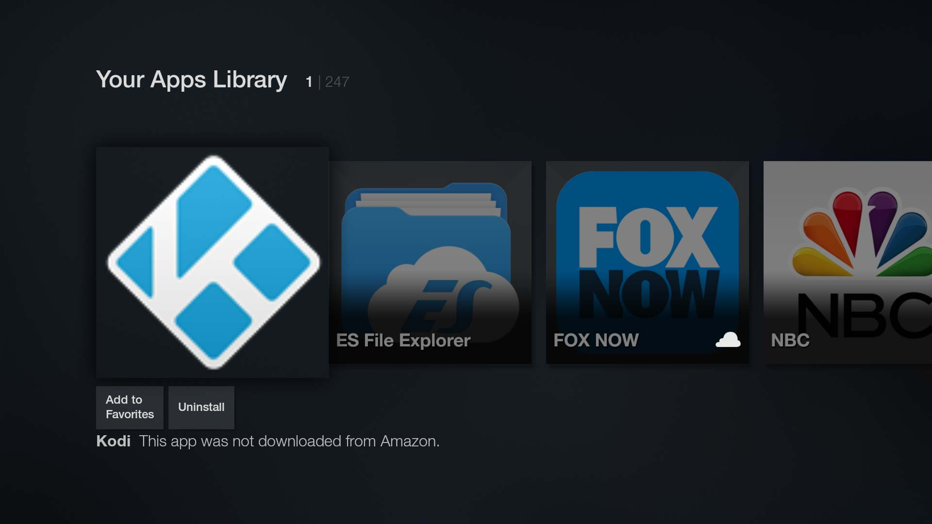 Sideloaded apps like Kodi can now be launched from the Fire