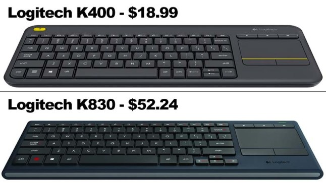 Logitech K400 Keyboard on sale for $18 99 and K830 for