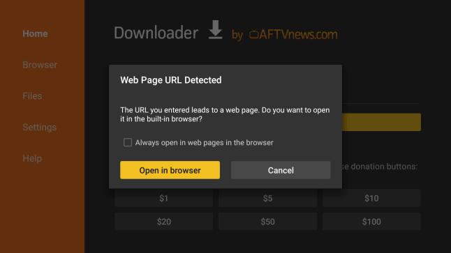 Downloader app v1 1 1 update for Fire TV adds built-in Web Browser
