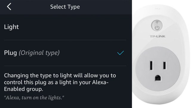 Smart plugs can now be designated as Lights in the Alexa app