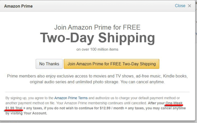 Amazon Has Been Offering One Week Trials Of Amazon Prime For 199