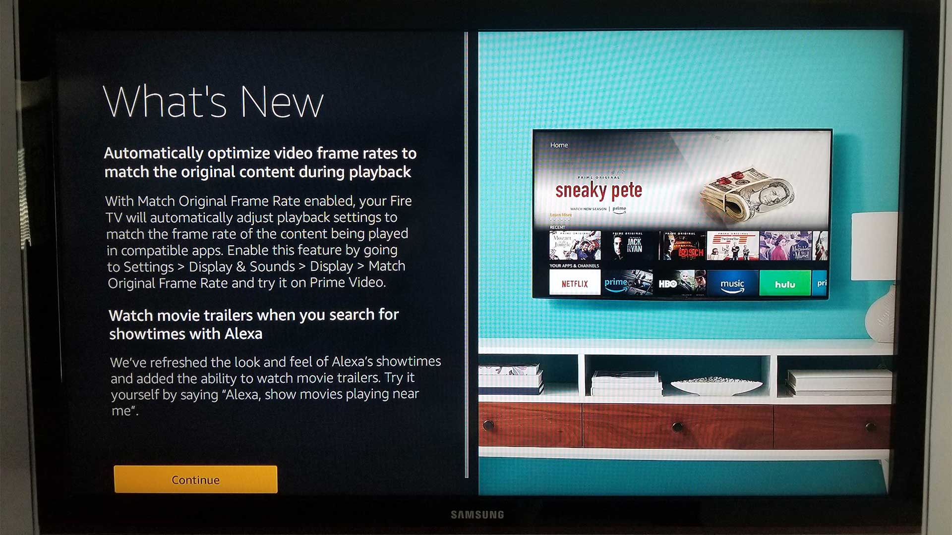 Amazon Fire TV gains automatic Video Frame Rate Matching