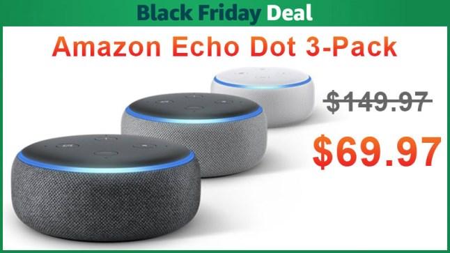 amazon echo dot 3 pack is on sale for black. Black Bedroom Furniture Sets. Home Design Ideas