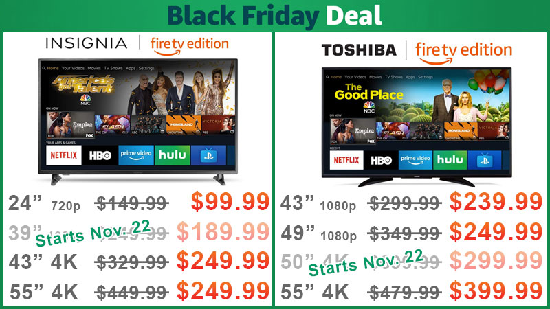 Insignia and Toshiba Fire TV Edition Television Black Friday Deals are Live \u2014 Starting at $99.99 [UPDATED]