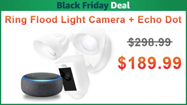 Ring Flood Light Security Camera W Free Echo Dot 3 Just