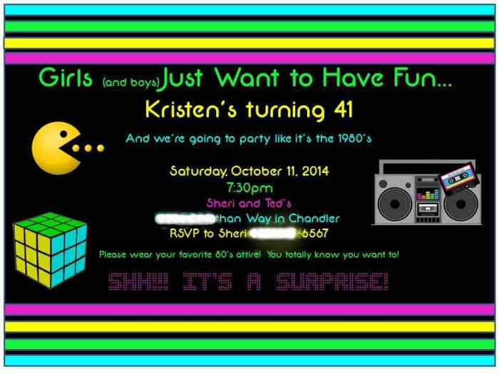80's theme birthday party invitation from a Fun and Frugal Life