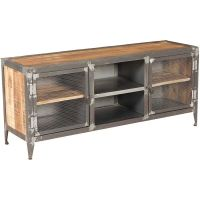 Vintage Industrial Iron And Wood TV Stand SIE
