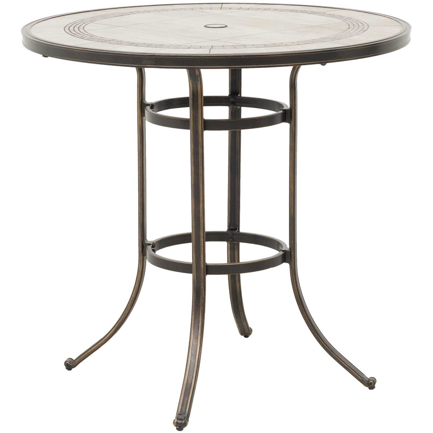 Barnwood 42 Round Tile Top Patio Bar Table  TR42B T6 BARNWD  World Source International  AFW