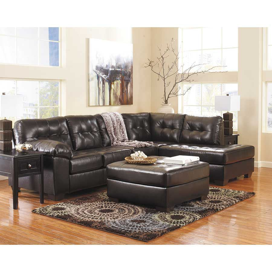 ashley bonded leather sectional sofa jonathan lewis alliston chocolate 2pc w/ raf chaise 0n1-201rc ...