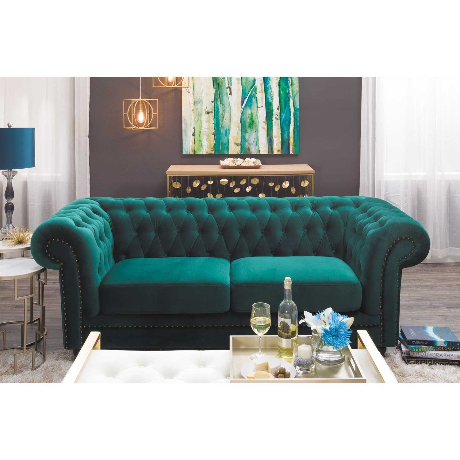 Callie Tufted Emerald Sofa  MY225S3CC42  CAMBRIDGE