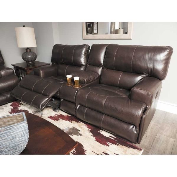 Wembley Chocolate Italian Leather Power Reclining Loveseat