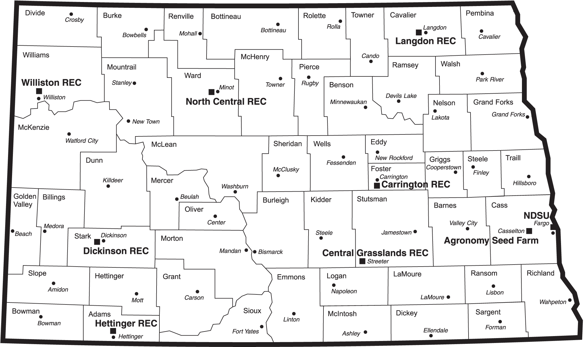 North Dakota map with RECs — ND Agricultural Experiment