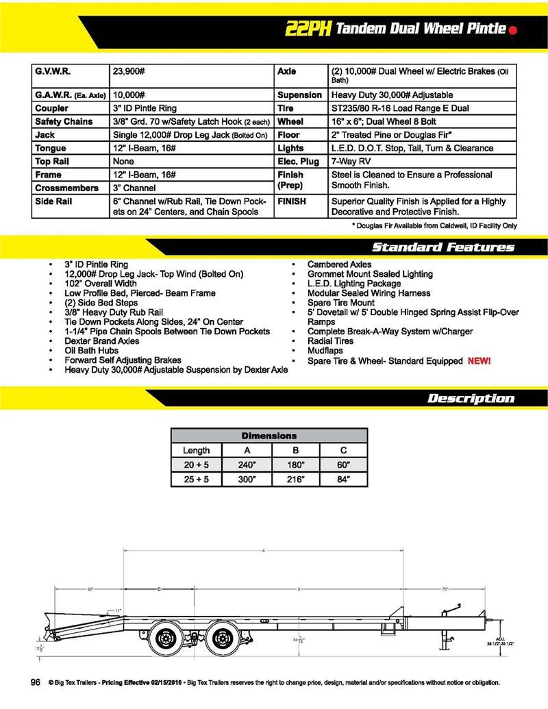 hight resolution of  big tex 22ph 20bk 5 tandem dual wheel pintle brochure