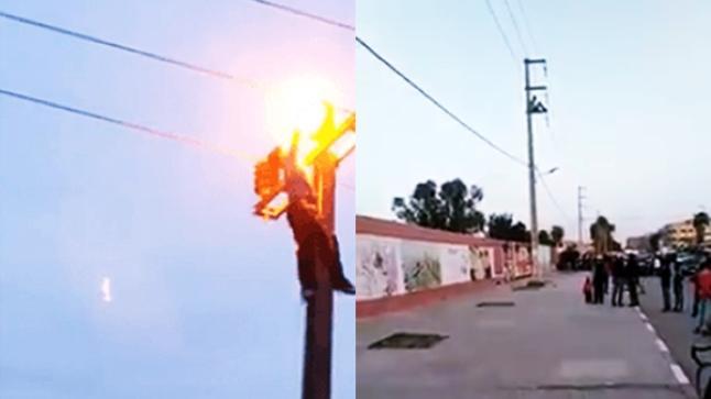 بالفيديو.. شاب ينتحر بتعريض نفسه لصعقة كهربائية قوية فوق عمود كهربائي
