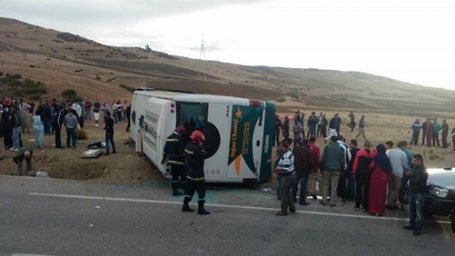 تسجيل أول وفاة في حادثة انقلاب حافلة بين أكادير ومراكش