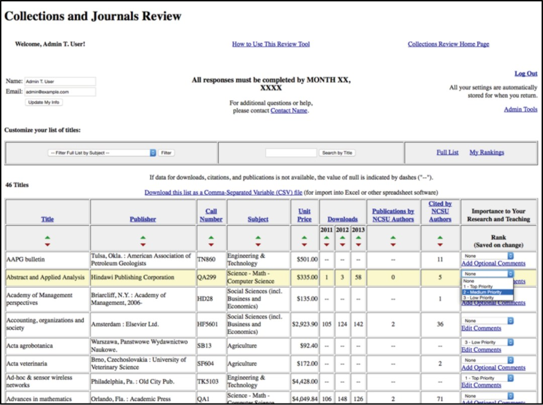 Collection and Journals Review (screenshot)