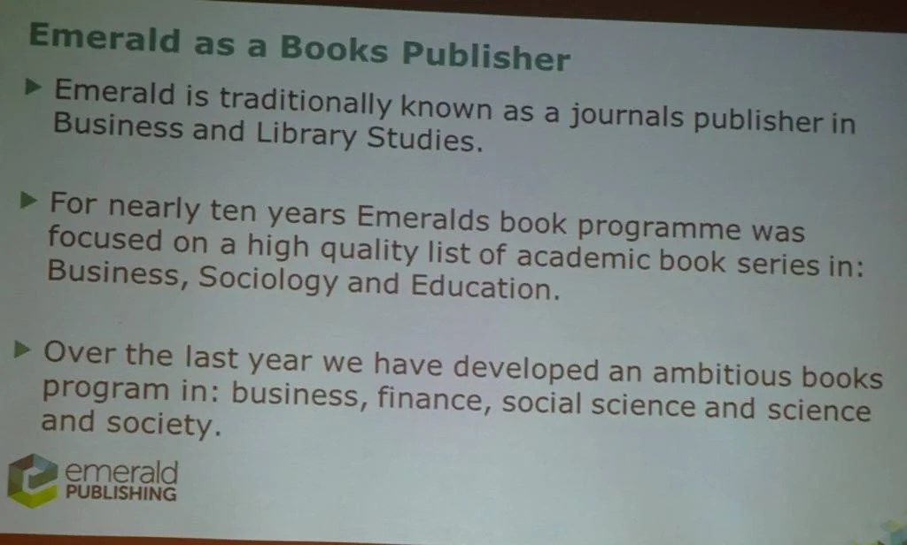 Emerald as a Books Publisher