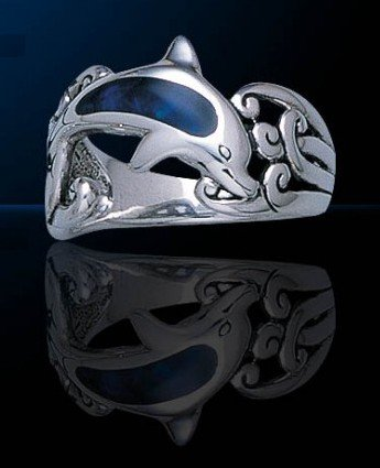 Single Sterling Silver Dolphin Ring