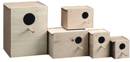 forma cajas nido de agapornis en madera
